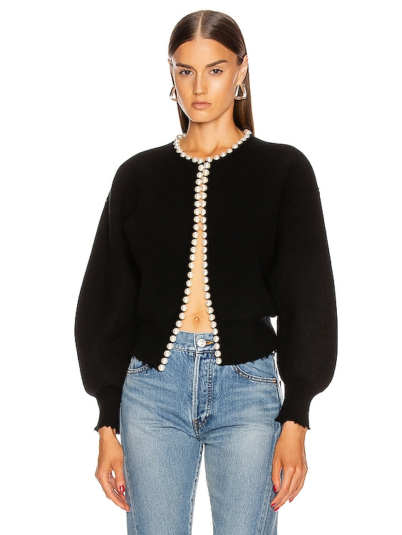 Pearl Placket Cropped Cardigan in Black