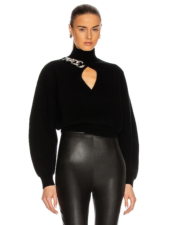 Chain Link Turtleneck Sweater in Black