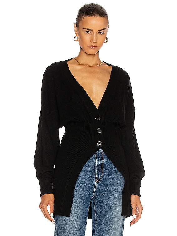 Smocked Waist Oversized Cardigan in Black