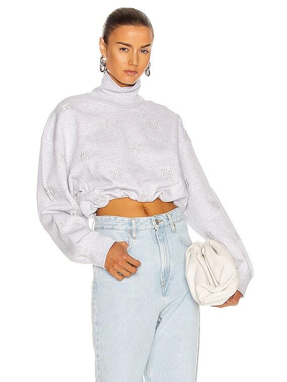 Embroidered Funnel Neck Sweatshirt in Heather Grey