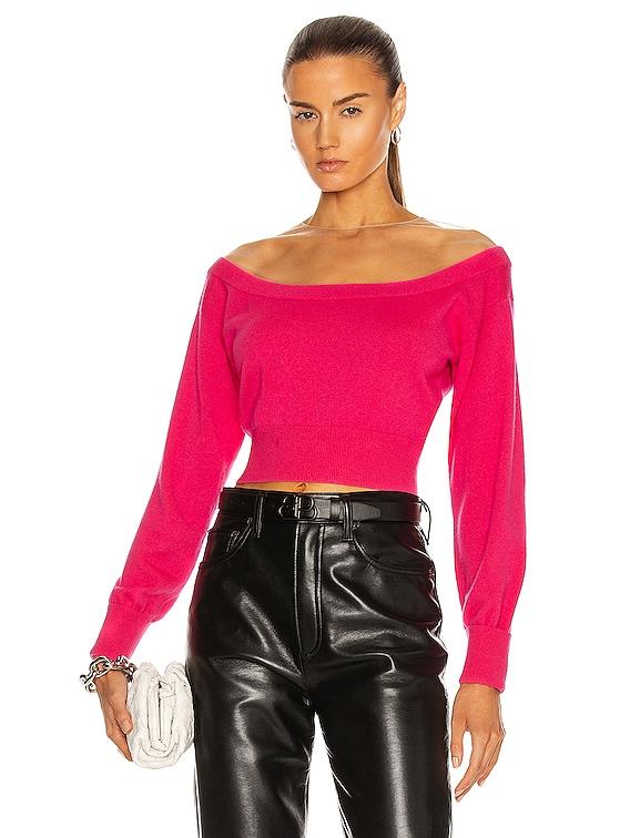 Sheer Yoke Fitted Crop Sweater in Bright Fuchsia