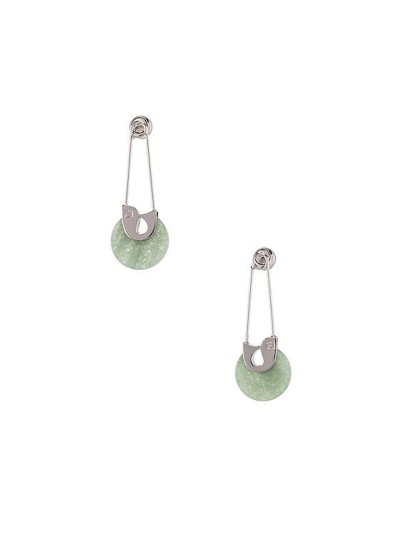 Safety Pin Earrings in Jade & Silver