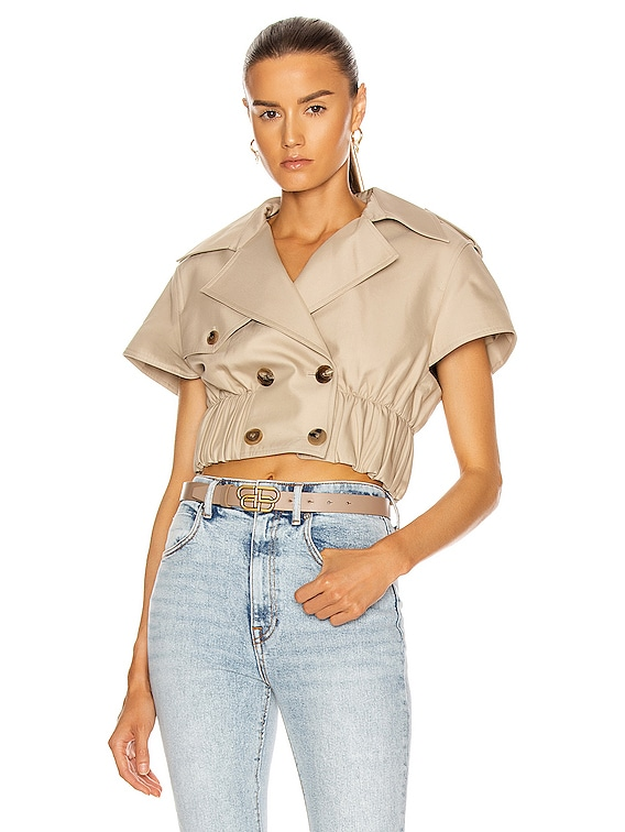 Cropped Shirt Trench Jacket in Stone