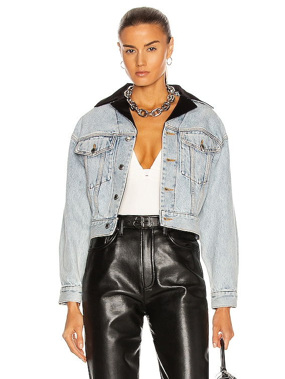 Tuxedo Collar Trucker Jacket in Pebble Bleach