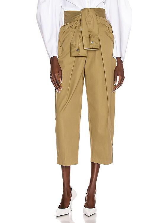 Tie Front Waist Trouser in Field Green