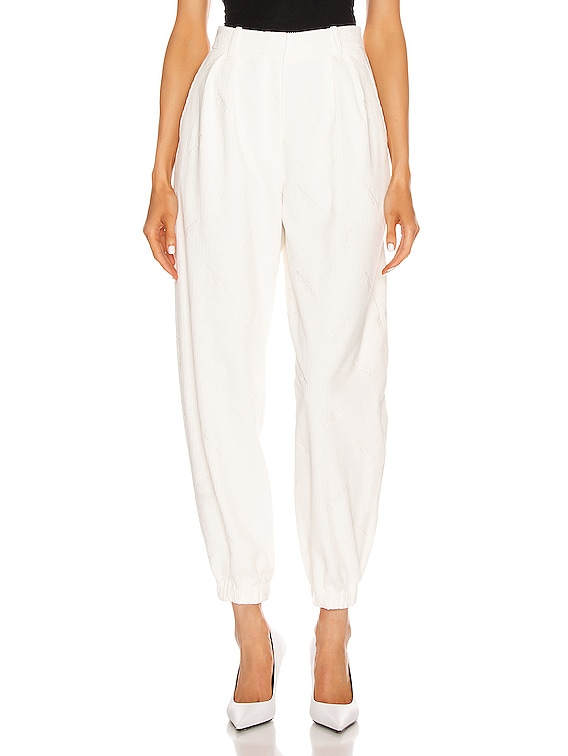 All Over Embroidery Corduroy Sweatpant in Ivory