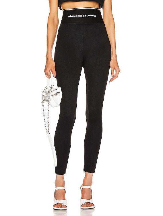 Logo Elastic Zipper Legging in Black