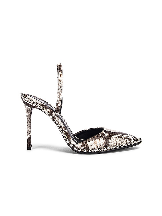 Rina Roccia Snake Heel in Black & White