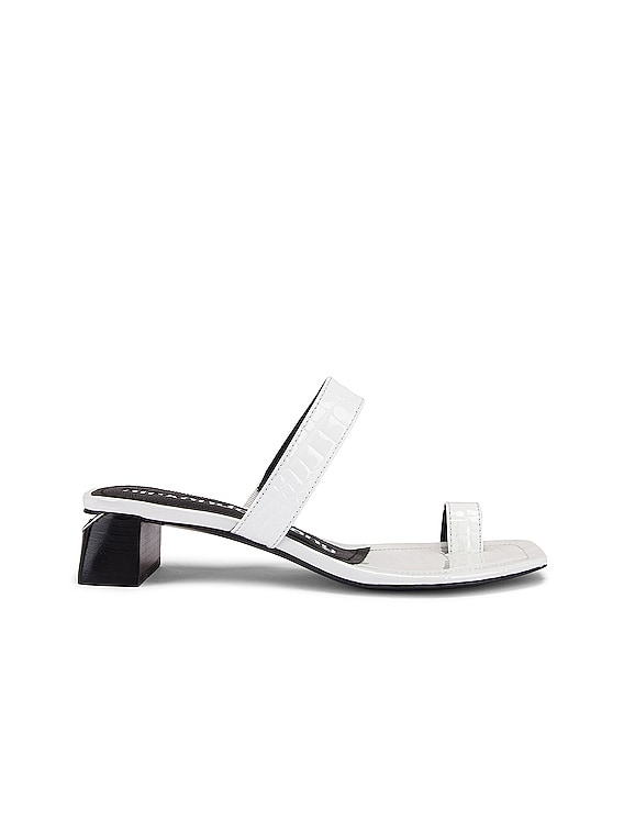 Ellis Croc Embossed Sandal in White
