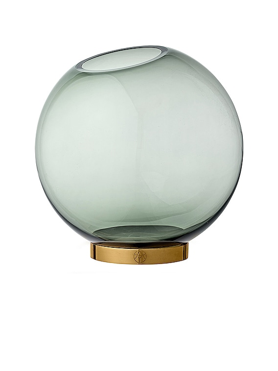 Large Globe Vase with Stand in Forest & Gold