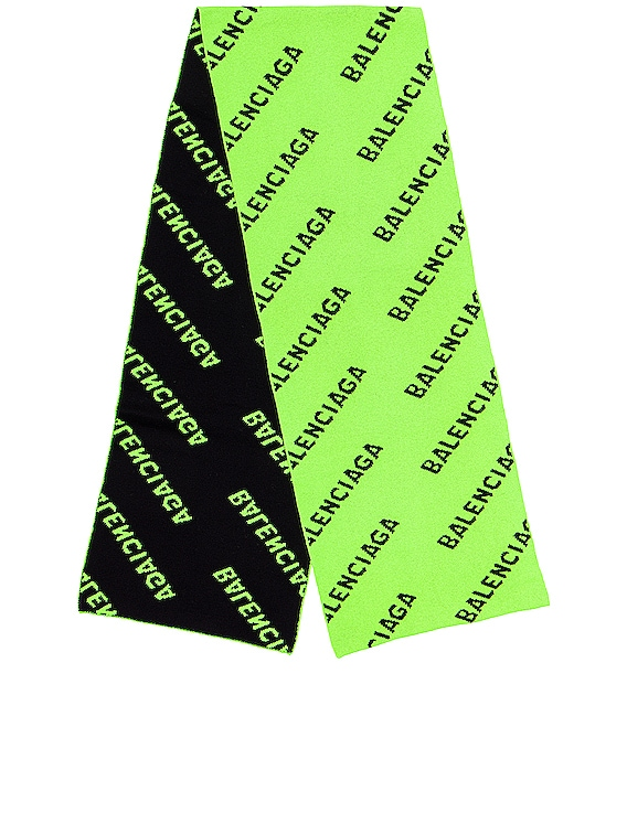 Logo All Over Knit Scarf in Acid Green & Black