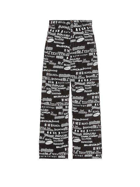 Overprint Baggy Trousers in Stonewash Black