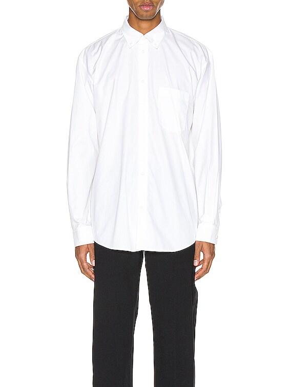 Long Sleeve Logo Tab Shirt in White