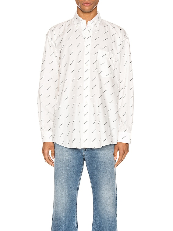 Normal Fit Long Sleeve Shirt in White & Black