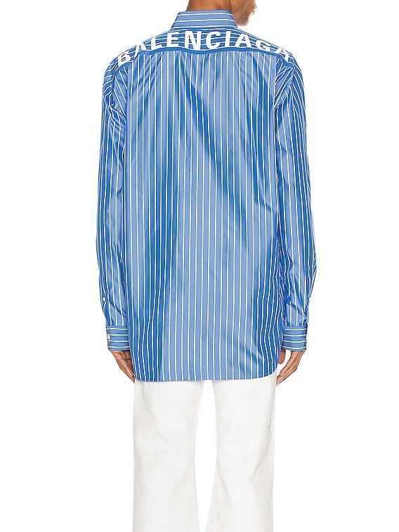 Long Sleeve Logo Shirt in Blue & White