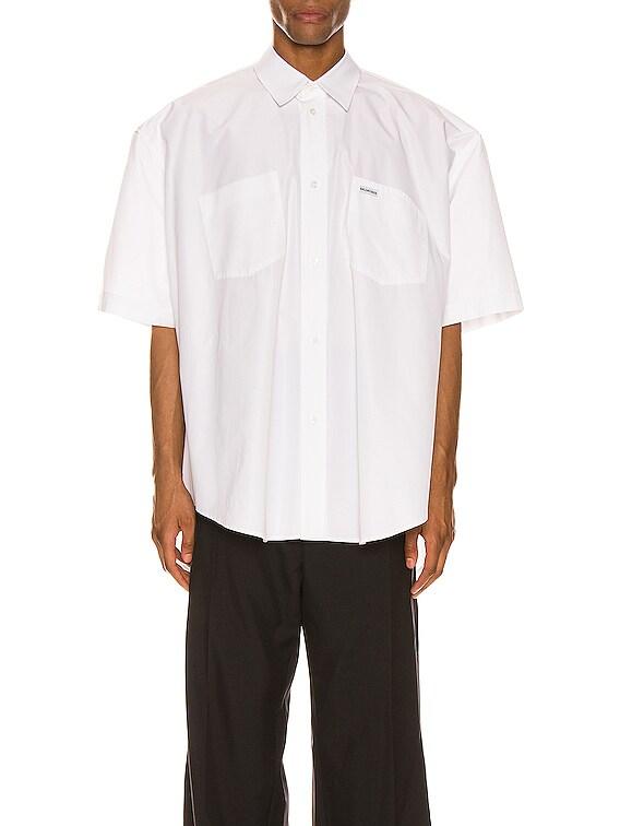 Short Sleeve Boxy Shirt in White