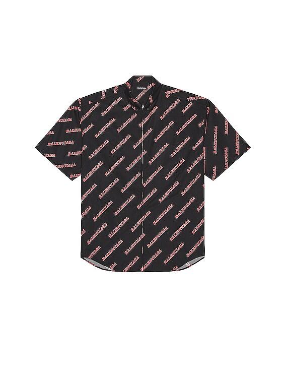 Zip Short Sleeve Shirt in Black & Red