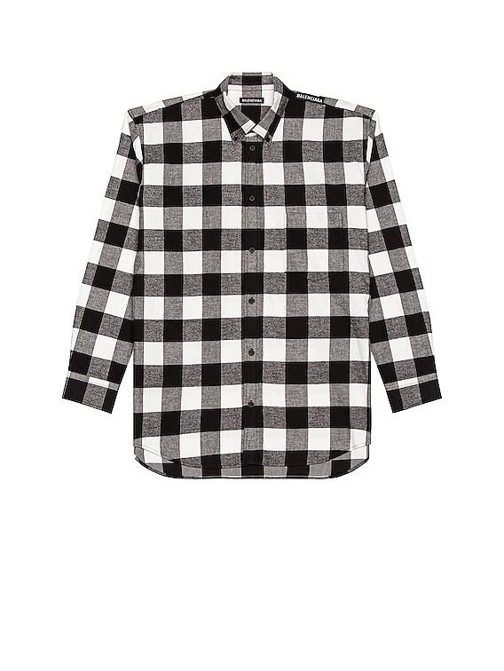 Long Sleeve Tab Shirt in Black & White