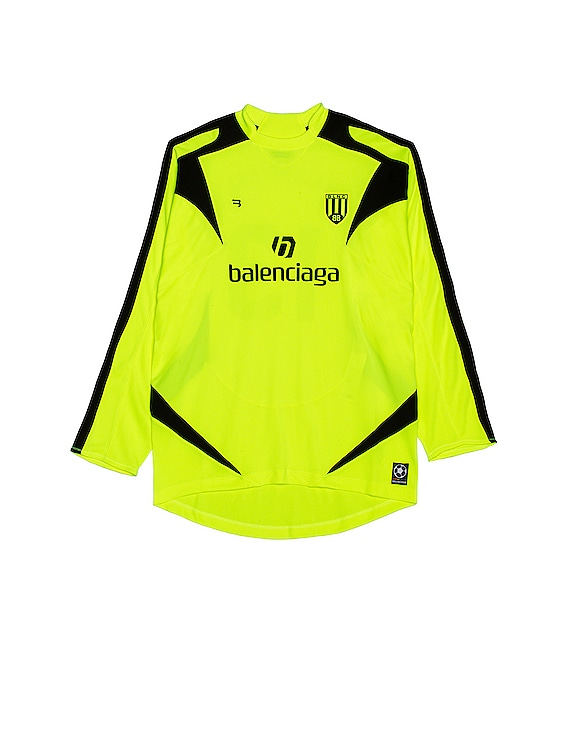Long Sleeve Soccer T-Shirt in Fluo Yellow & Black