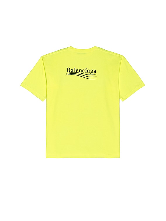 Large Fit Political Tee in Fluo Yellow & Black