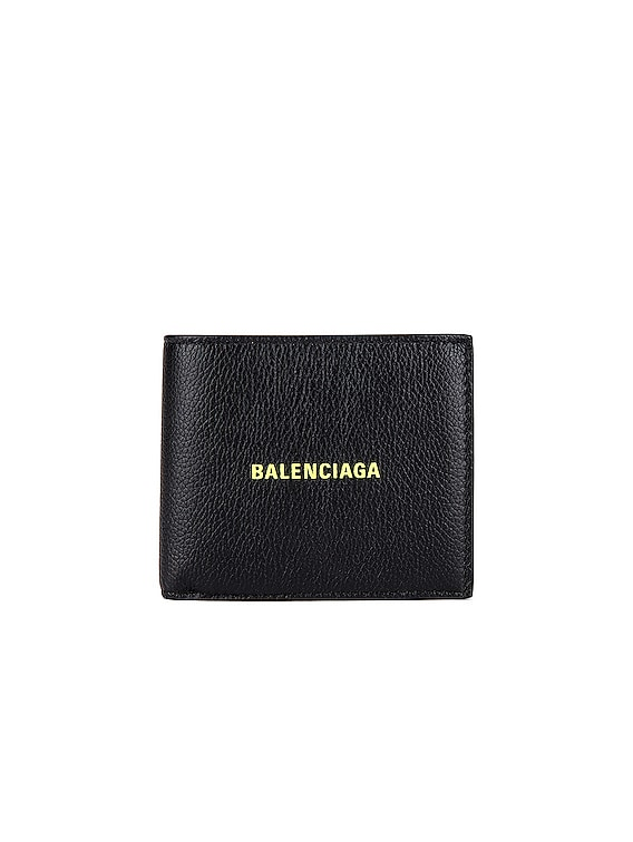 Cash Square Wallet in Black & Fluo Yellow