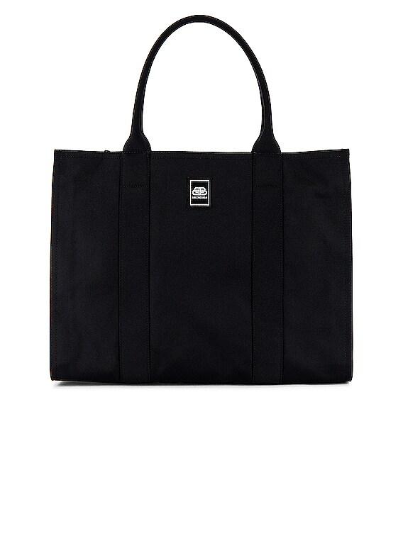Trade E-W Zip Tote Bag in Black