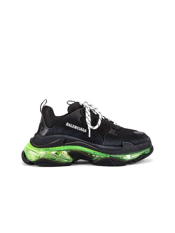 Triple S Clear Sole in Black & Yellow Fluo