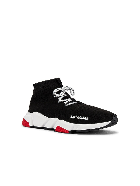 Speed Light Sneaker Lace Up in Black & White & Red & Black