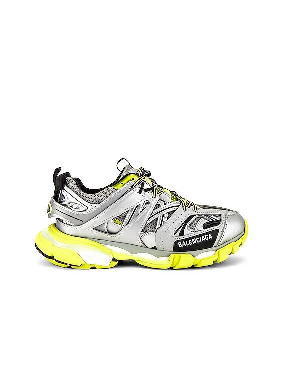 Track Sneaker in Silver & Green