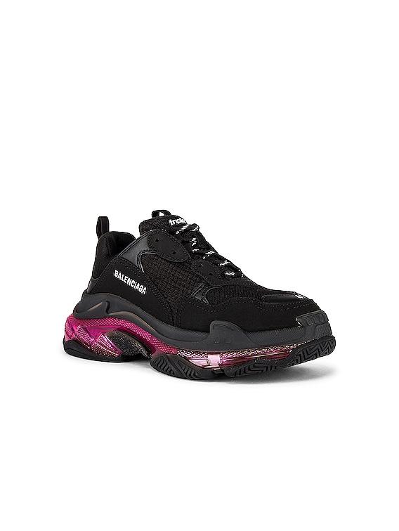 Triple S Sneaker in Black & Pink Neon