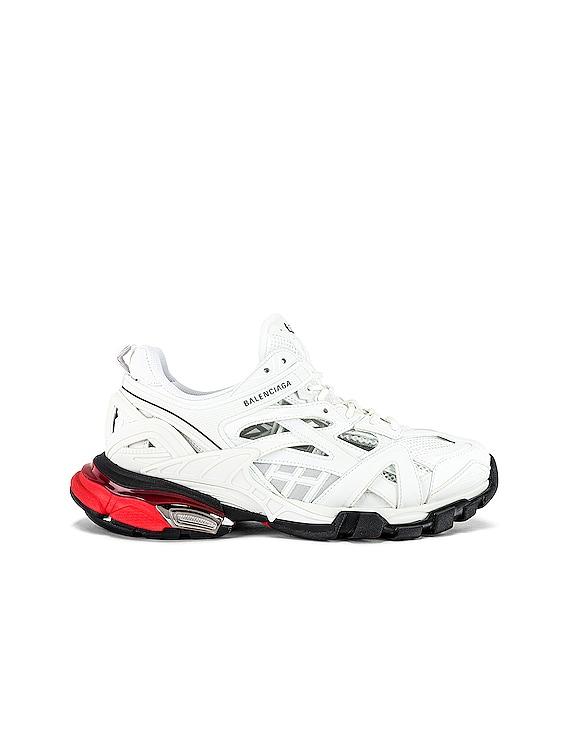Track.2 Open Sneaker in White & Red & Black