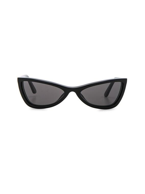 Slim Cateye Sunglasses in Shiny Black with Smokey Lens
