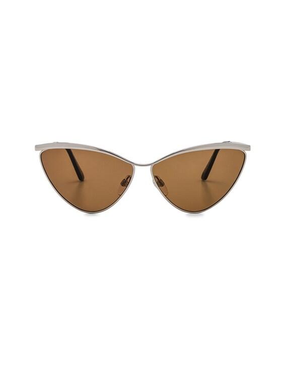 Cat Eye Sunglasses in Silver & Vintage Brown