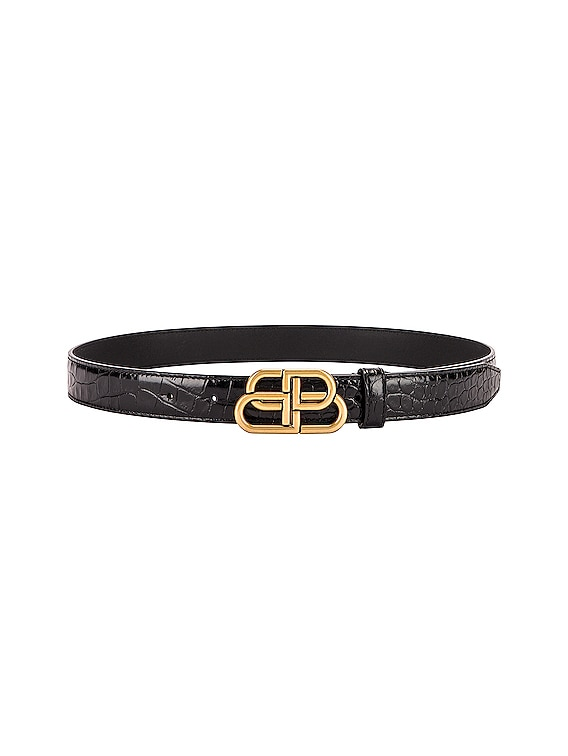 BB Embossed Croc Thin Belt in Black