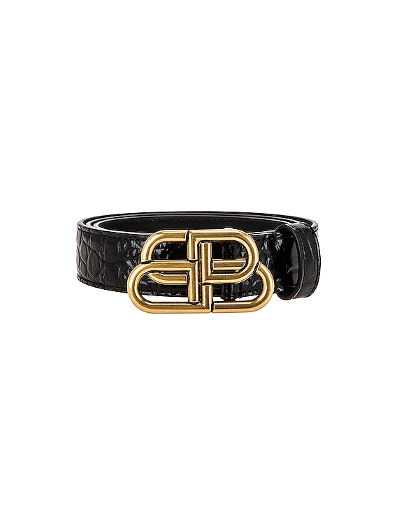 BB Embossed Croc Thin Belt in Black
