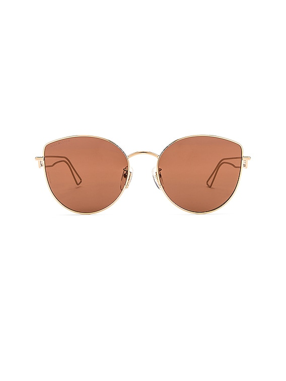 Inception Metal Sunglasses in Shiny Light Gold & Brown
