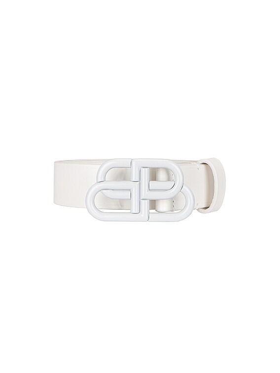 BB Thin Belt in White