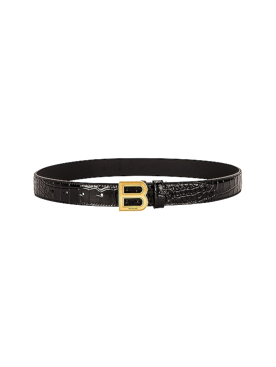 Thin Hourglass Belt in Black