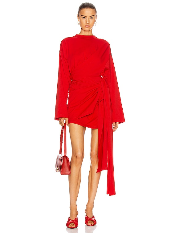 Short Wrap Dress in Red
