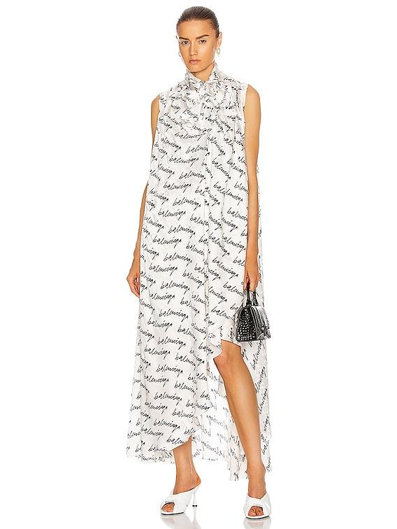 Stola Dress in White & Black