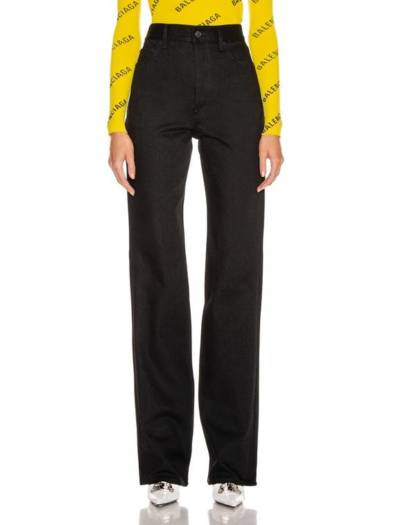 Straight Denim Jean in Black