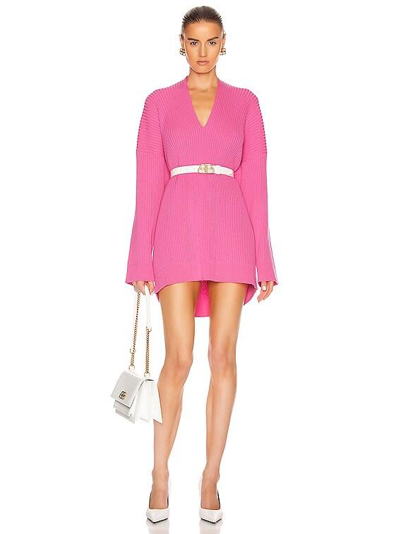 Long Sleeve Slit Sweater in Ultra Pink