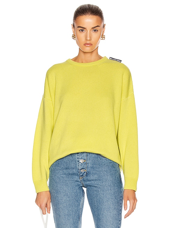 Long Sleeve Crewneck Sweater in Lime