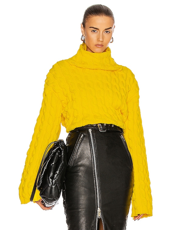 Long Sleeve High Neck Sweater in Yellow