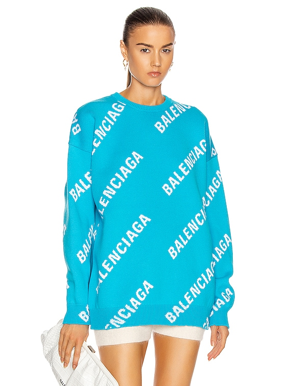 Long Sleeve Logo Sweater in Turquoise & White