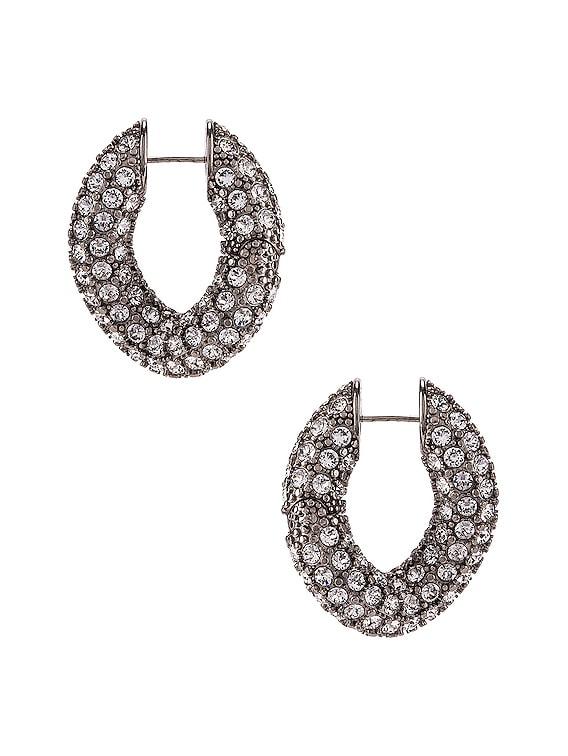 Strass Loop Earrings in Crystal & Antique Silver