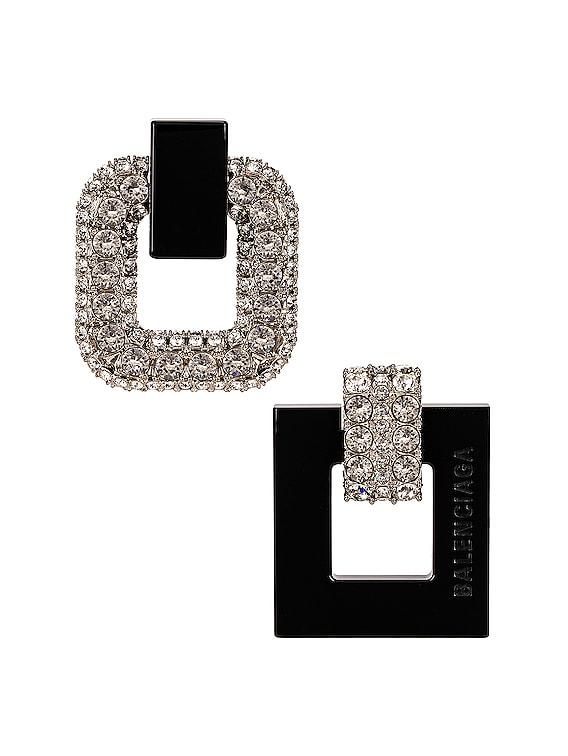 Cubic Earrings in Silver & Black