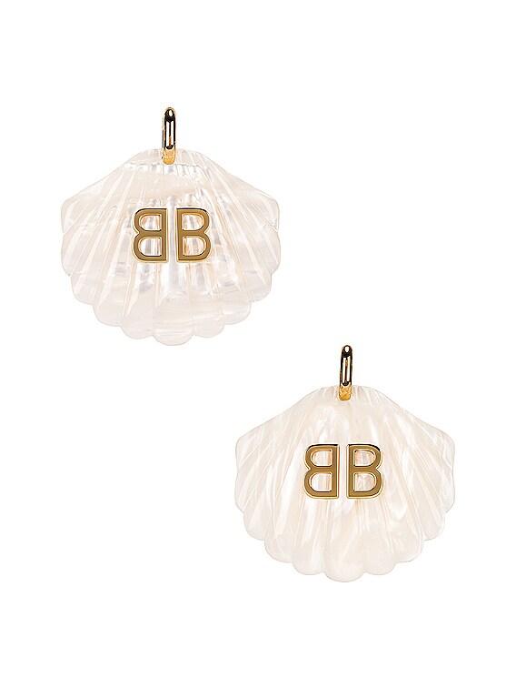 Mermaid Earrings in Marble White & Gold