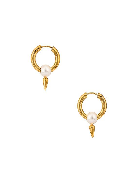 Force Spike Earrings in Gold & Pearl