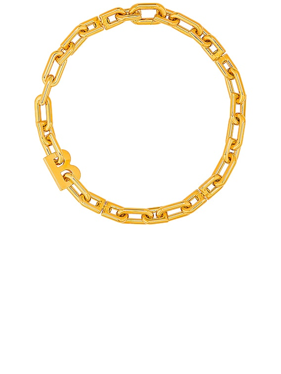 Thin B Chain Necklace in Shiny Gold